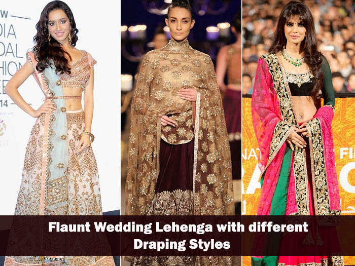 flaunt old wedding lehenga with different draping styles for new look