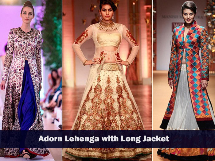 how to wear your wedding lehenga again? Just adorn lehenga with long jacket to get fabulous look