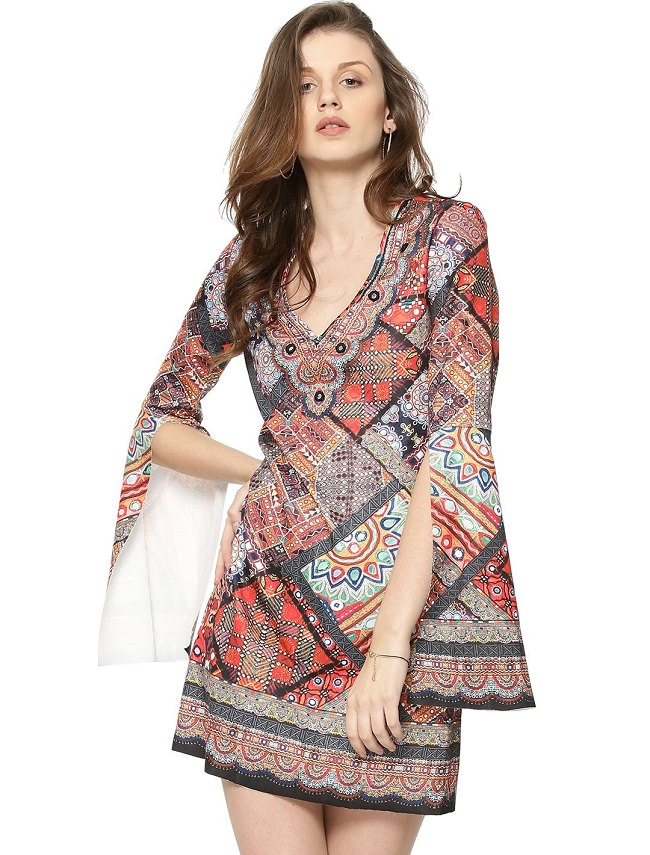 multicolor printed tunic dress, type of dress codes