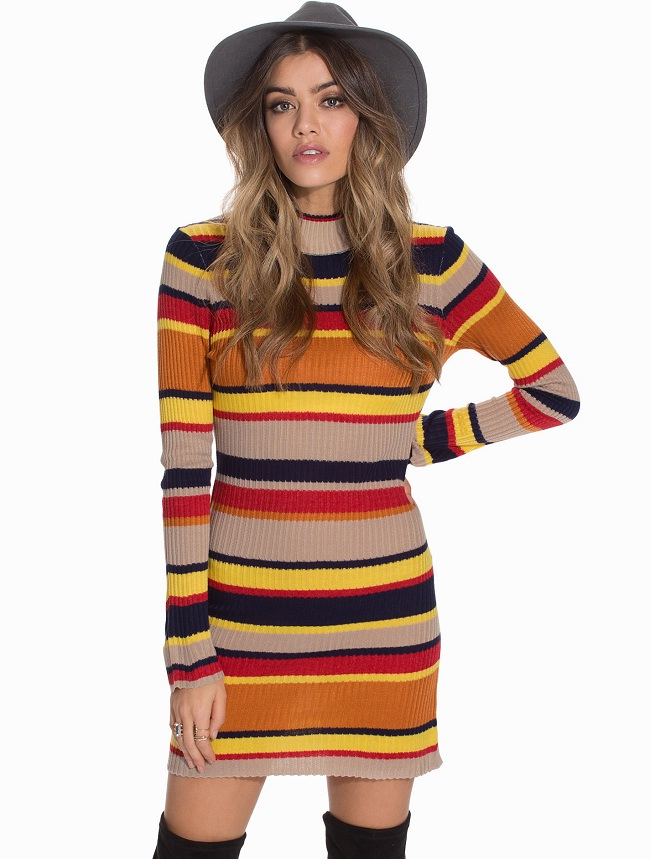 multicolor striped sweater dress, different types of dress material