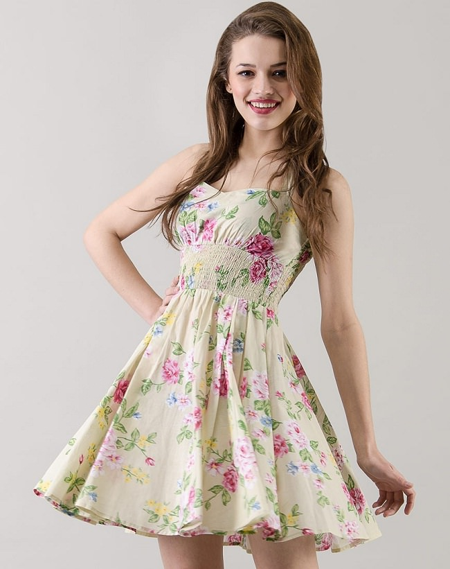 off white floral printed skater dress, dresses types and styles