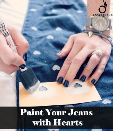 paint your jeans with hearts