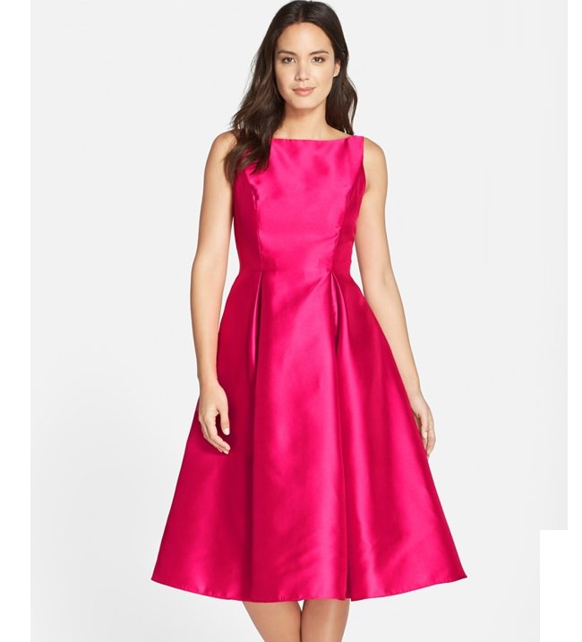 pink fit n flare dress, dresses online shopping