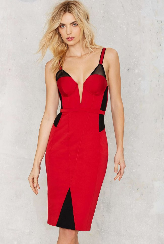 red bodycon dress, dress types with pictures