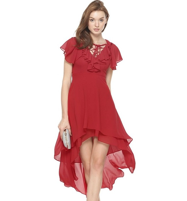 red high low dress, summer dresses india