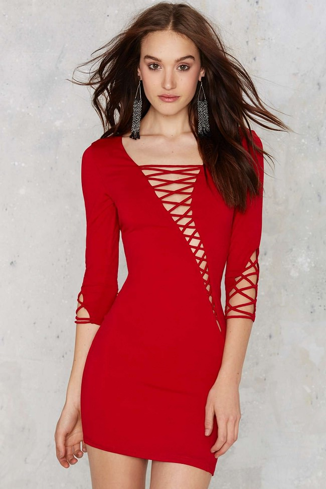 red solid lace-up detail dress, different types of dresses and their names