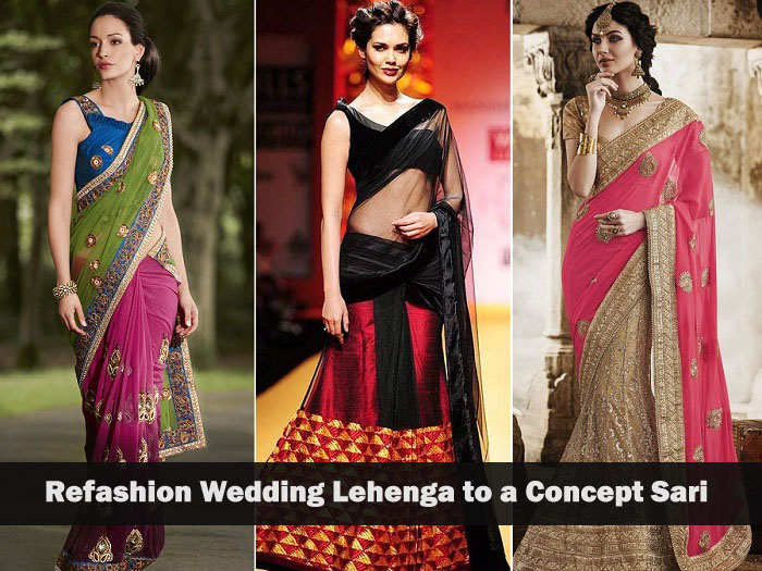 reuse old bridal lehenga by using it as a concept saree