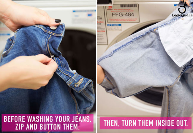 turn your jeans inside out before wash