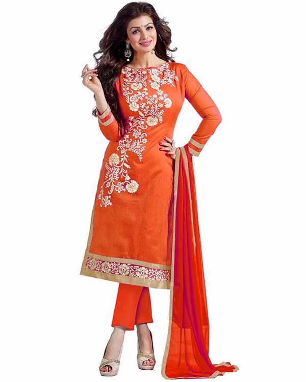 ayesha takia orange embroidered salwar suit