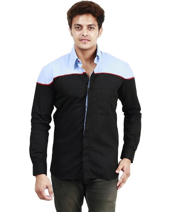 black blue solid casual shirt