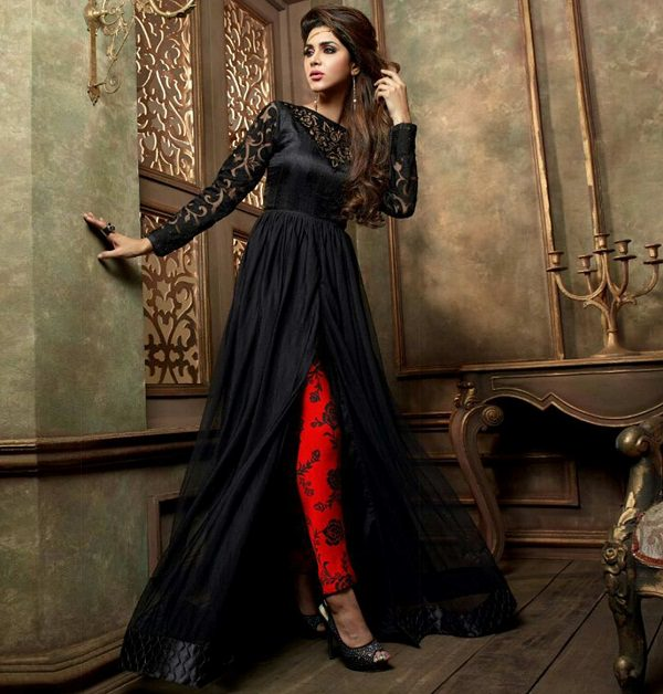black front slit anarkali suit