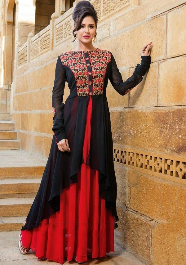 black red embroidered anarkali suit