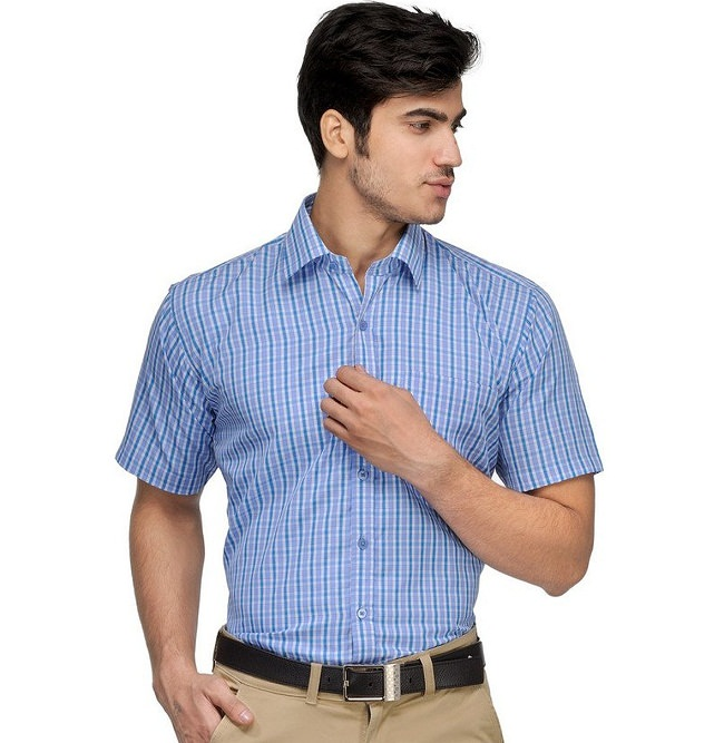blue checked half sleeves formal shirt