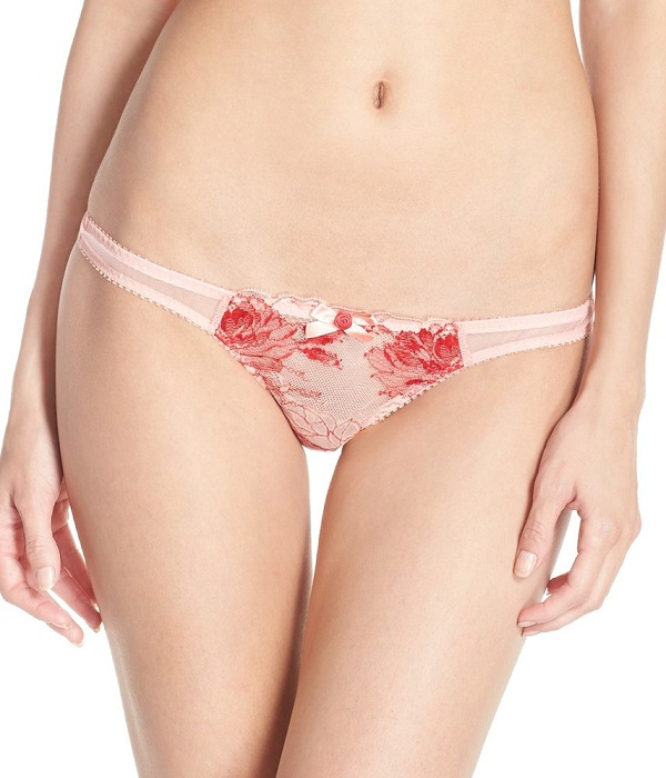 blush red floral printed sexy thong