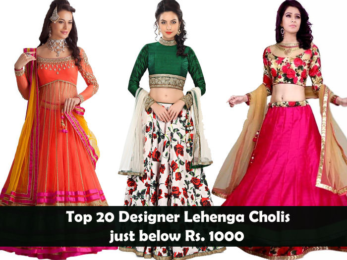 ed8ce01403 Top 20 Designer Lehenga Cholis just below Rs. 1000 - LooksGud.in