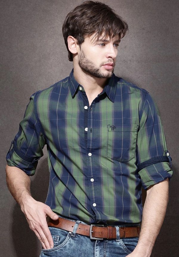green blue checked casual shirt