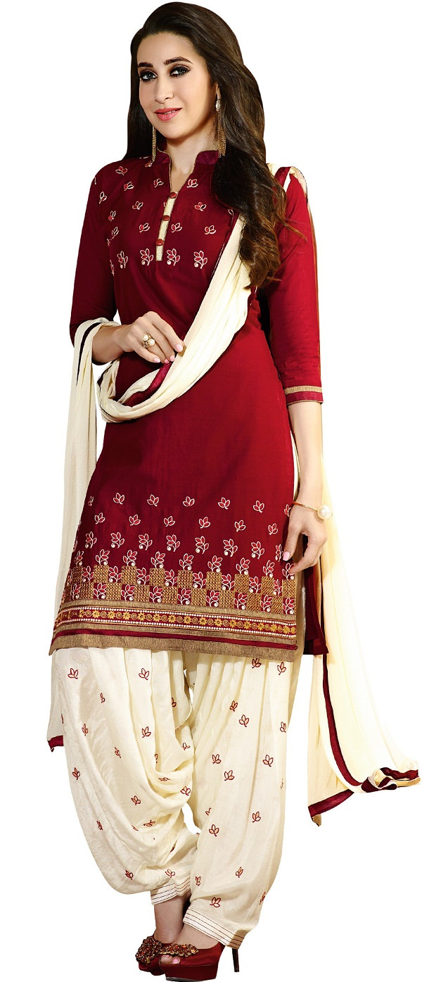 karishma kapoor maroon embroidered salwar suit