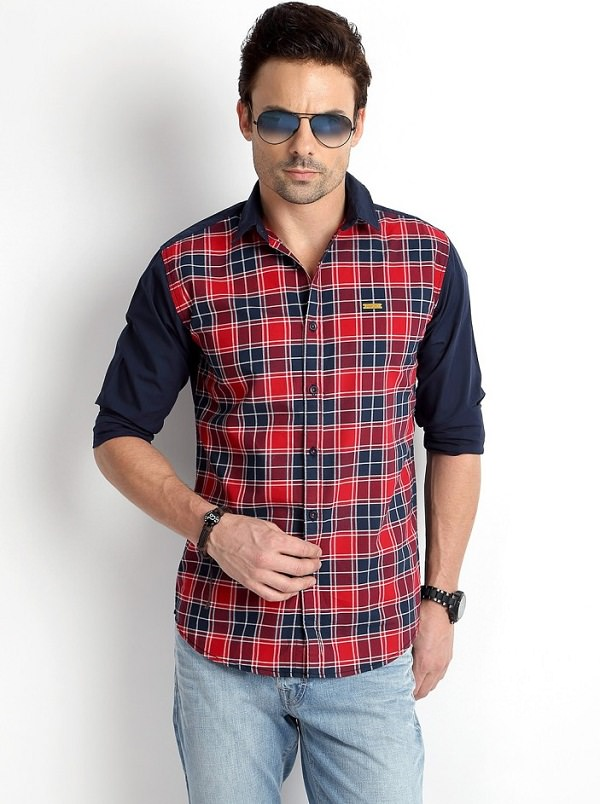 multicolor checked casual shirt