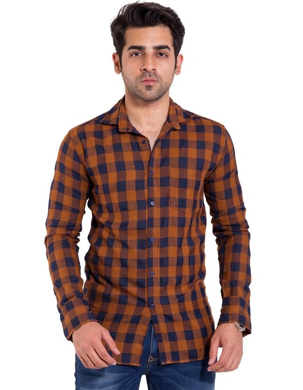 mustard blue casual checked shirt