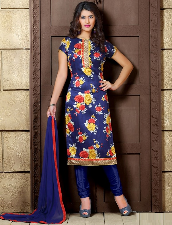 navy blue floral printed straight salwar suit