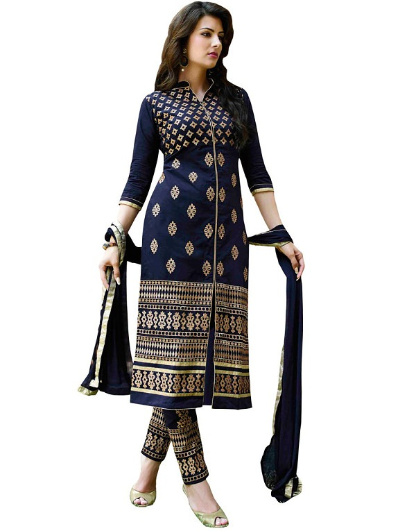 navy embroidered straight salwar suit