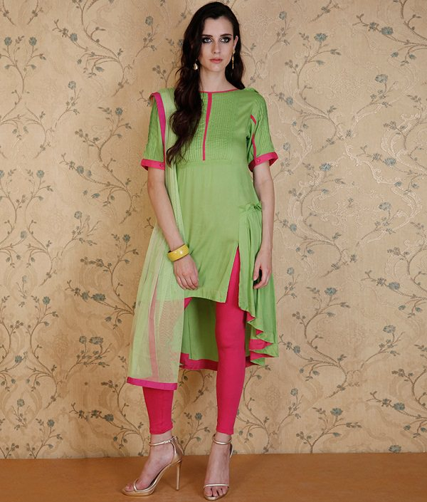parrot green kurta with churidar salwar