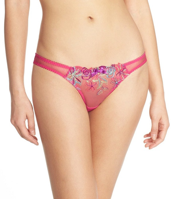 pink floral embroidered tanga brief