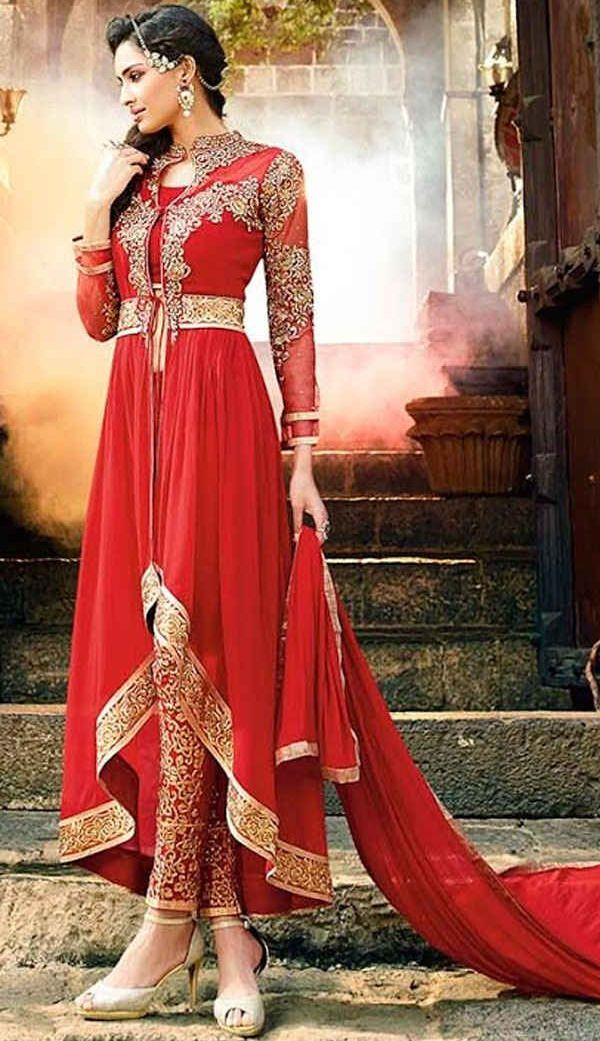 red embroidered high low anarkali auit