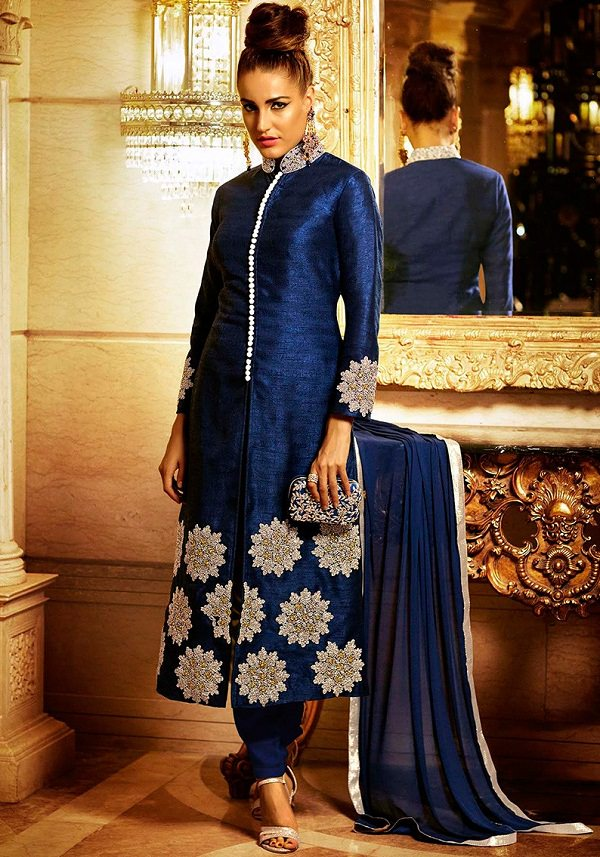 royal blue straight salwar suit