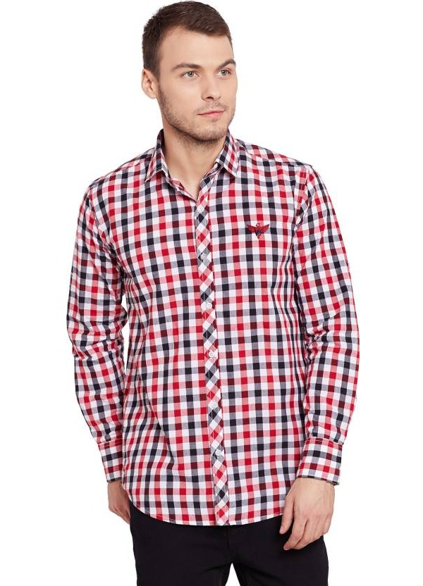 warriors-red-black-checked-regular-fit-casual-shirt