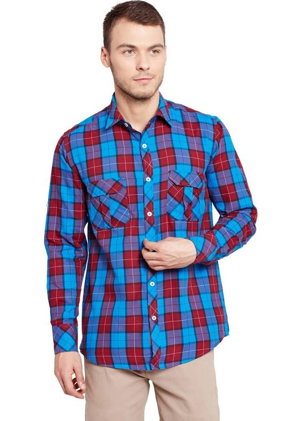 warriors-skyblue-red-checked-regular-fit-shirt