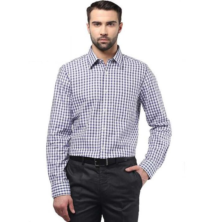 white blue checked formal shirt