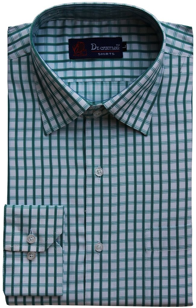 white green checked formal shirt