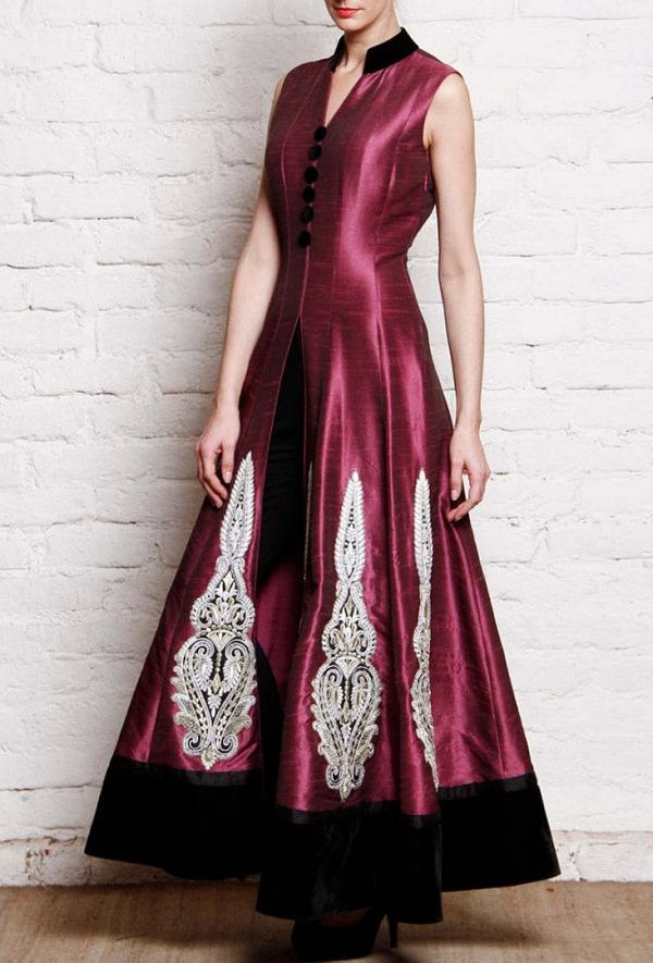 wine embroidered anarkali suit