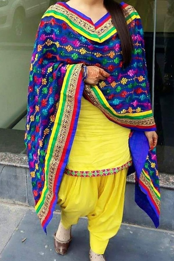 yellow embroidered patiala salwar suit