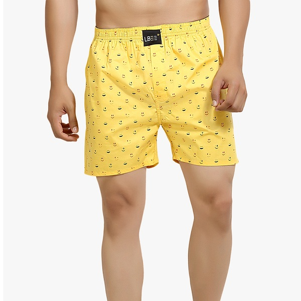 yellow printed boxer shorts is best underwear for men in term of comfort