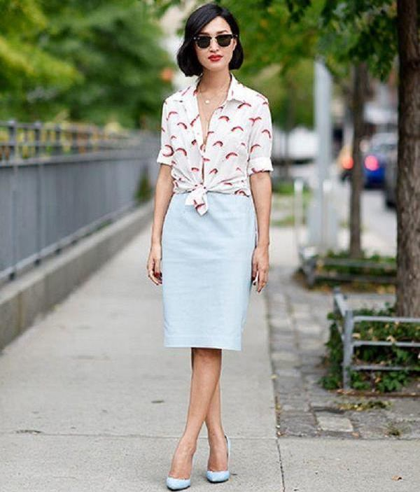 button down shirt with a tube skirt