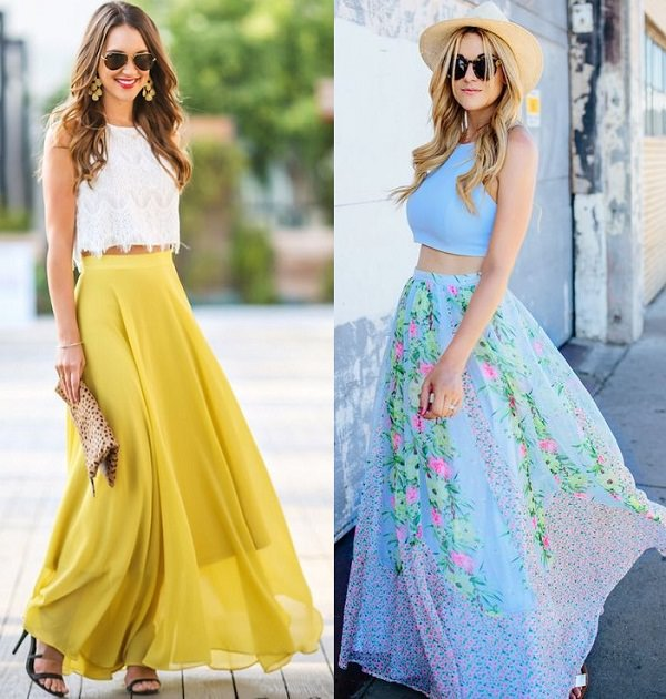crop top with maxi skirt
