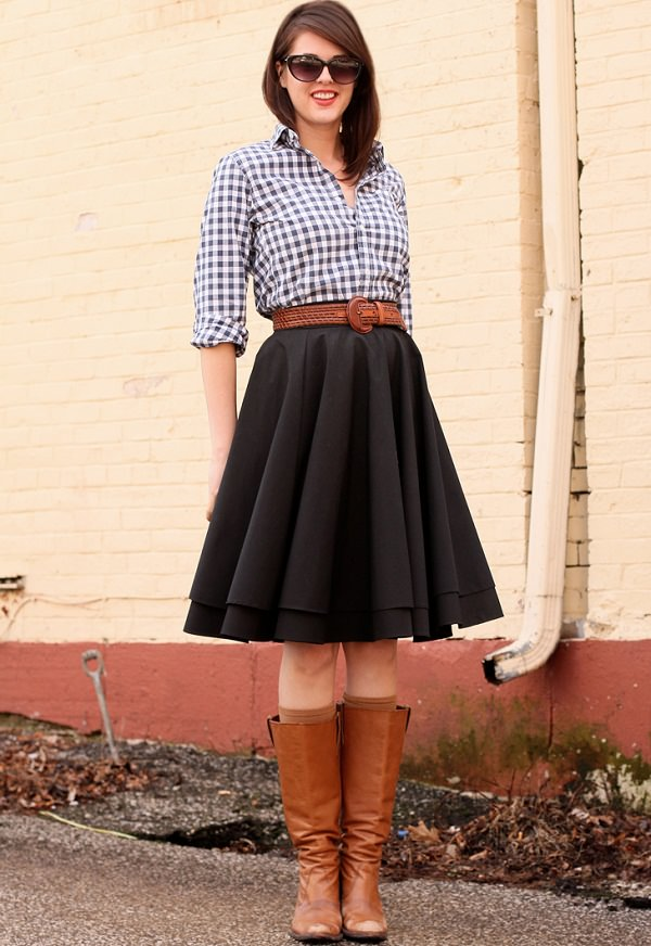 gingham shirt with aline skirt