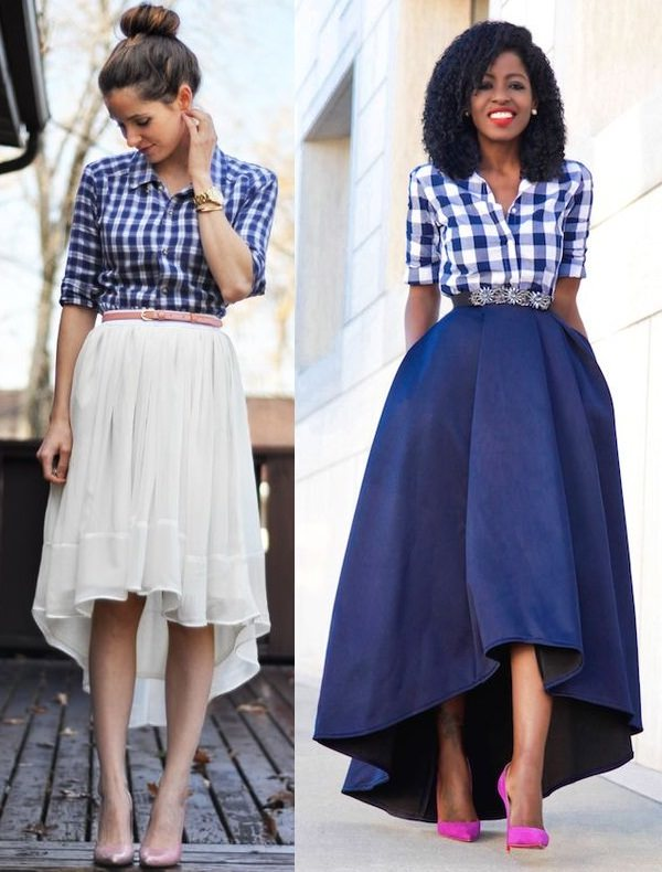 gingham shirt with high low skirt