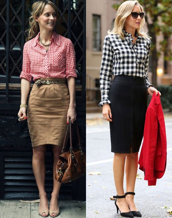 gingham shirt with pencil skirt
