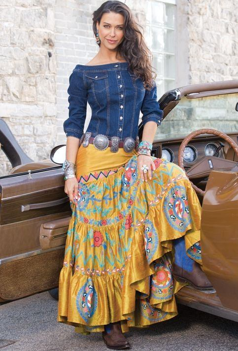 long skirt with denim off shoulder top