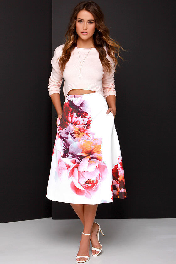 midi skirt with blouse
