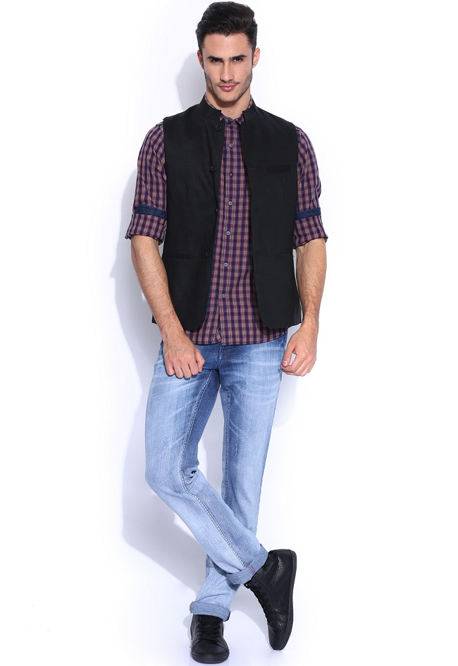 nehru jacket with jeans