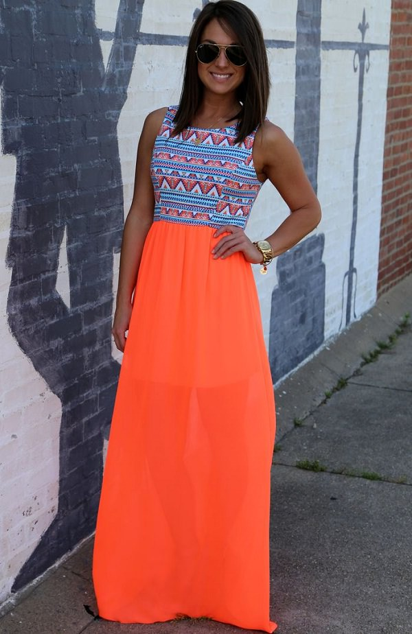 neon maxi skirt with aztec print top