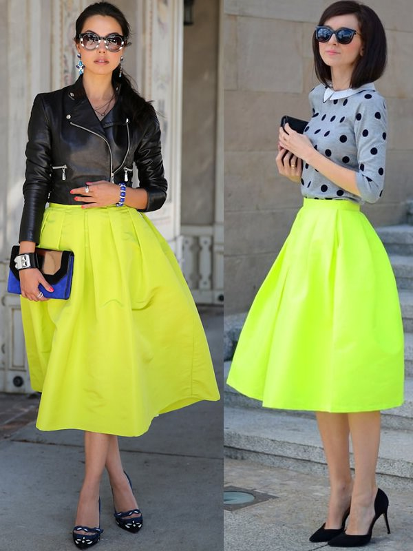neon midi skirt with jacket