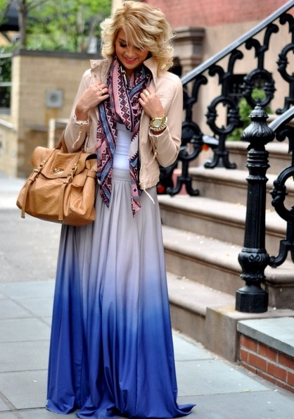 ombre maxi skirt with tank top