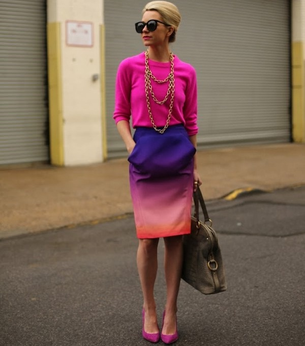 ombre pencil skirt with quarter sleeve top