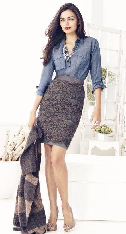 pencil skirt with denim top