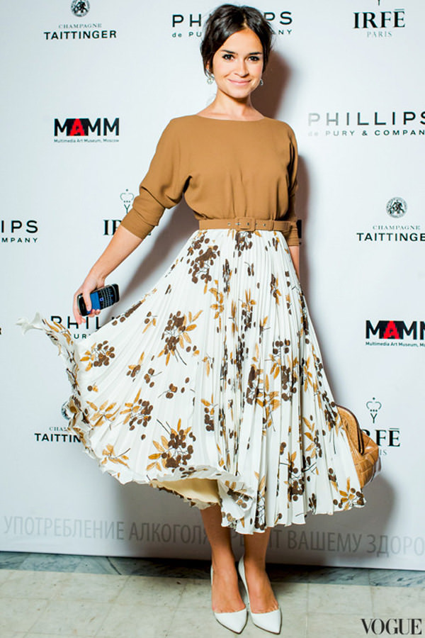 pleated skirt with blouse and belt